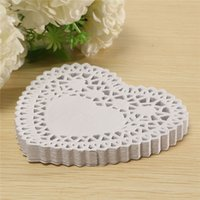 Wholesale Heart Shape Paper Lace Doily - Fashion 4 Inches Lace Paper White Heart shaped Lace Paper Doilies Out Pad for Home Paper Crafts Decoration 10.3x9.7cm