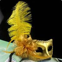 Wholesale masquerade diamond resale online - Women s Masquerade Mask Ostrich Feather Diamond Lace Venetian Masquerade Masks Party Mardi Gras Masks Factory Free DHL