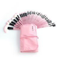 bolsas de color rosa rubor al por mayor-Kits de pinceles de maquillaje profesional Eyebrow Foundation Power Maquiagem Eyeliner Lip Blush Beauty Tool Bag Pink 22 24 32 Unids / set