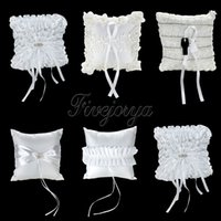 Wholesale Lace Ribbon Ring Pillow - 5 style White Lace Diamante Buckle Flower Peals Satin Ribbon Bow Ring Pillow for Wedding Ceremony Decoration 20cm x 20cm