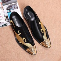 Wholesale Lizard Shoes - Personalized Men Black Casual Loafer Shoes Fashion Metal Pointed Toe Emboridered Lizard Pattern Black Boat Shoes Slip On 38-46