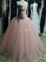 Wholesale Vestido Longo Peplum - Real Photo Princess Ball Gown Pink Prom Dresses Party Dress with Black Lace Appliques and Sequins Vestido de Festa Vestidos Longo Evening Go