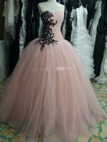 vestidos festa longo spitze großhandel-Real Photo Princess Ballkleid Pink Ballkleider Partykleid mit schwarzen Spitzenapplikationen und Pailletten Vestido de Festa Vestidos Longo Evening Go
