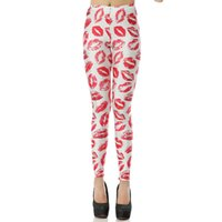 Wholesale Sexy Lips Print Leggings - New Arrival 1084 Sexy Girl leggins White Red Lips Print Hiphop Printed Polyester Elastic Fitness Workout Women Sport Leggings Yoga Pants