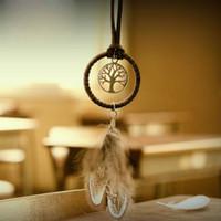 Wholesale India Dance - Vintage Mini Dreamcatcher Handmade Dream Catcher Net With Feather Decoration Ornament Diameter 3.5cm Craft Gift ZA4606