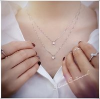 Wholesale Star Long Pendant - Korea Fashion Double Chain Necklaces 925 Sterling Silver Star Necklaces Zircon Pendants Jewelry Collar Colar Long Necklace Free Shipping