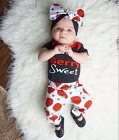 Wholesale Strawberry Cotton Shirts - Ins 2017 Whosale Newest Baby Clothes Sets Infant Toddlers Strawberry Letter Print T-shirt With Matching Pants Outfits Children Cotton Clothe