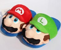 Wholesale Mario Plush For Free - 2017 Super Mario Bros Mario Plush slipper Home Winter Indoor Warm Slippers For Adult 27cm 5 pairs Free Shipping