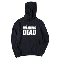 Wholesale Walk O Long - Men hoodies black loose street cotton blend fleece the walking dead men hooded sweatshirts and hoodies