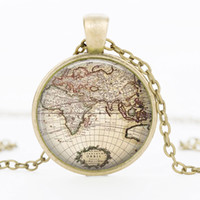 Wholesale World Globe Gifts - In hot fashion jewelry necklace glass dome Globe planet earth world map necklace Art In Glass dome pendant gift wedding necklace