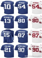Maglia uomo di New York Gaint # 21 Landon Collins 80 di Victor Cruz 10 Eli Manning 13 di Odell Beckham jr 87 Shepard 90 Pierre-Paul Jerseys