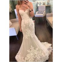 Wholesale Engagement Dresses Custom Made - Engagement Vintage Lace Mermaid Bridal Dress 2016 Elegant Sweetheart neck Lace Applique Sweep Train Wedding Dress Custom made Bridal Gowns
