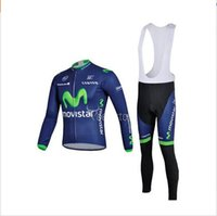Wholesale Long Bib Movistar - 2015 Movistar Cycling Jersey Sets Long Sleeve Winter Bib None Bib Set Cyclling Jerseys High Elastic Warmer Men Bicycle Cloth