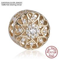 Wholesale Silver Charm Bracelets Luxury - Luxury Brand Logo Hearts Of Love Charm Beads 14K Real Solid Gold Pave AAA CZ Openwork Heart Bead Diy Bracelets Fine Jewelry