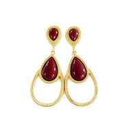 Wholesale Sweet Girl Face - Free Shipping Water Drop Dark Red Resin Gold Plating Earring Stud, New Sweet Cute Girl Fashion Earring