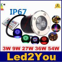 rgb led deck lights venda por atacado-12 V 9 W Conduziu a Luz Subterrânea RGB Deck Lâmpada Ao Ar Livre IP67 Enterrado Recesso Luzes de Assoalho Quente / Frio Branco Vermelho Azul Verde