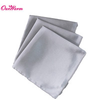 Wholesale 100 Silver Satin Table Dinner Napkin quot Square Men Pocket Handkerchief wedding decoration event party supplies