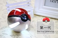Wholesale Power Bank Lithium Battery - Cartoon Portable Powerbank 3 generations Poke Ball Power Banks For Lovely Pikachu Poke Ball 12000mah Lithium Batteries With LED Light