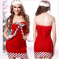 Wholesale Sexy Female Santa Costumes - 2017 Three Pieces Sexy Santa Claus Clothes Women Clothing Christmas Plush Adult Christmas Costume Red Cosplay Theme