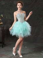 Moda verde una linea di Homecoming Dress Organza Sleevelss Lace-up Prom Dress perline paillettes breve mini abito da cocktail