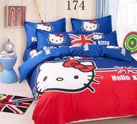 Wholesale Children Single Duvet Cover - 2016 New Home Textiles Single Double bed Bedclothes set Children Cartoon Hello Kitty Bedding Sets Duvet Cover + Bed Sheet + Pillowcase