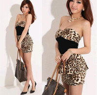Wholesale Sexy Lycra Dresses Leopard - Wholesale- Strapless Summer Leopard Dress 2016 HOT Sexy Lovely Spandex Fashion Womens M XL Vestidos Sexy Dresses