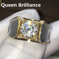 2 quilates ct F Compromiso de color Wedding Lab Grown Moissanite Anillo de diamantes para hombres Sólido 14K 585 Oro blanco 17903