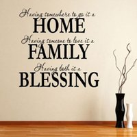 Wholesale Wall Stickers Bless Family - Free shipping alphabet letter stickers Home Family Blessing Quote Removable Art Mural Home Decor Vinyl Wall Sticker