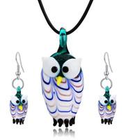 cam baykuş toptan satış-Baykuş Lampwork Kolye Üflemeli Venedik Murano Cam Kolye Kolye Ve Küpe Setleri Kadınlar Moda Takı