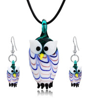 Wholesale animal murano pendants - The Owl Lampwork Pendant Blown Venetian Murano Glass Pendants Necklaces And Earrings Sets Women Fashion Jewelry