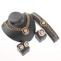 Wholesale Tibet Silver Lion - Hot Sale New Design Trendy Gold-Tone Enamel Lion Head Choker Necklace Bracelet Ring Earrings Jewelry Sets