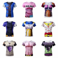 Wholesale tight t shirts for women - New 2016 men, women, animation tight sleeve T-shirt Classic Anime Dragon Ball Z Saiyan 3D t shirt tees tops tshirts for mens Plus Size