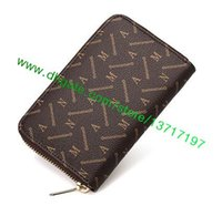 Wholesale Genuine Leather Coats Women - Top Grade Canvas Coated Real Leather Zippy Compact Wallet N61263 M41895 N63015 Fashion Designer Short Single Zipper Wallet