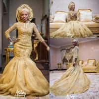 uzun sarı gelin kıyafet toptan satış-2017 Yeni Afrika Sarı Mermaid Gelinlik Jewel Boyun Uzun Kollu Dantel Aplikler Boncuklu Mahkemesi Tren Artı Boyutu Resmi Gelin Elbise