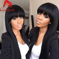 haarperücke förderung großhandel-Promotion !! 2016 neue brasilianische volle Spitze Echthaar Perücken Lace Front Perücke seidige gerade Perücken für schwarze Frauen mit Pony-Jungfrau-Haar