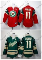 Año nuevo Minnesota Wild Youth Jersey # 11 Zach Parise Home Red Green Alternate barato MN Wild Kids Hockey Jerseys Barato al por mayor