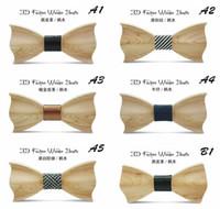 pajarita de madera al por mayor-Pajarita de madera para hombres Bridegroom 2017 Nueva Fshion Wood 20 Estilo Gentleman Pajaritas Bowties para la fiesta de bodas T633