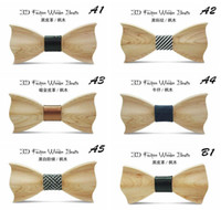 Wholesale gentleman leisure - Wooden Bow Tie for men Bridegroom 2017 New Fshion Wood 20 Style Gentleman Bow Ties bowties for wedding party T633
