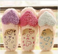 Atacado - Coral Velvet Love Heart 2016 New Women Home Chinelos Casual Winter Slippers Leisure Indoor Slippers