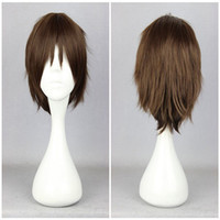 Wholesale Attack Titan Wigs - Anime Classical Attack on Titan Eren Jaeger 30cm Short Brown Synthetic Party Wig ePACKET Free Shipping