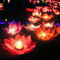 Wholesale Candle Lantern Floating - 10pcs Multicolor Silk Lotus Lantern Light With Candle Floating Pool Decorations Wishing Lamp Birthday Wedding Party Decoration
