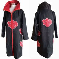 Wholesale Akatsuki Clothes - Wholesale-Halloween Costumes Men Anime NARUTO Costume Akatsuki Ninja Uniform Red Cloud Cloak Uchiha Itachi Madara Cosplay Clothes Cloth