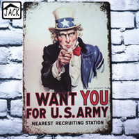 Wholesale Uncle Sam I WANT YOU FOR U S ARMY X30CM Vintage Plates Metal Tin Signs Wall Decor Garage Club Barn Parlor Bedroom Plaques