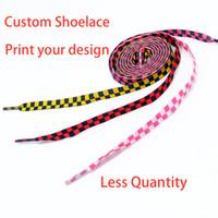 zapato menos al por mayor-Personalizado menos cantidad colorido poliéster impresión cordones Zapato piezas accesorios sublimación cordón cordón personalidad diseño de impresión personalizado