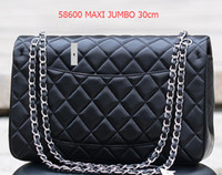 Wholesale Black Satin Rabbit - 1119 Classial Quilted Chain 30CM Jumbo Caviar Lambskin Double Flap Bag Women's Genuine Leather Shoulder Bag