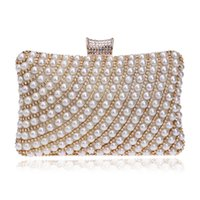 Wholesale beaded diamond ring - New Fashion Women Diamond Pearl Beaded Evening Clutch Bag With Finger Ring Shoulder Bag Lady Handbag Wallet Purse For Wedding Party Dinner