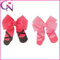 Wholesale Ballerina Shoes Girl - 5 inch Sweet Ballerina Ballet Alligator Hair Bows Girls Dancing Shoes Cheer Bow For Cheerleader Girl