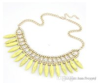 Wholesale Teeth Fashion Korea - Korea turquoise necklace new bohemian fashion canine teeth Spike necklace short paragraph 0424vv