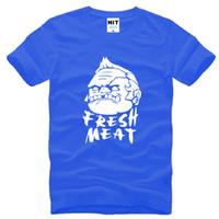 Wholesale Fresh Male - 2016 New Designer Dota 2 Game T Shirts Men Cotton Short Sleeve Pudge Fresh Meat Printed Mens T-Shirt Creative Male Tee Shirts Top Brand Hot