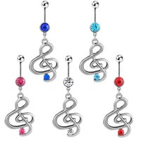 Wholesale Music Belly Button Rings - Trendy silver Rhinestone gemstone 5 colors Music Note Dangle Ethic navel Belly button Rings Body Piercing jewelry for Decoration